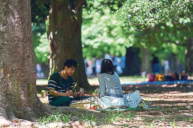 Image of people having a drink on a picnic in a park