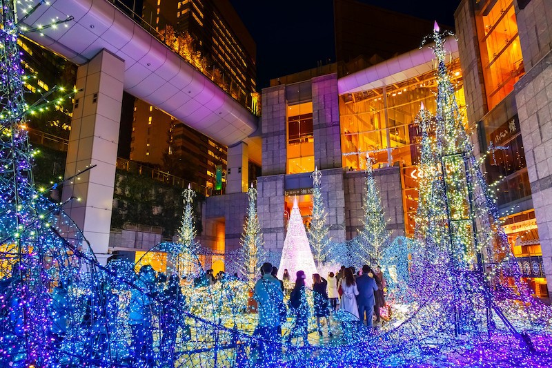 Light shows in Japan during christmas