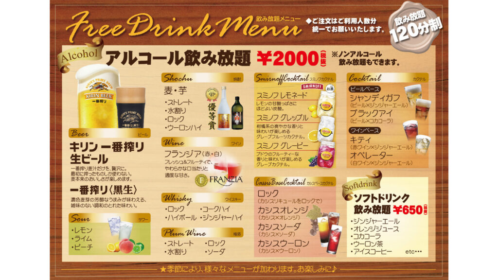 All-you-can-drink in Japan, All you need to know and the best places nomihoudai menu