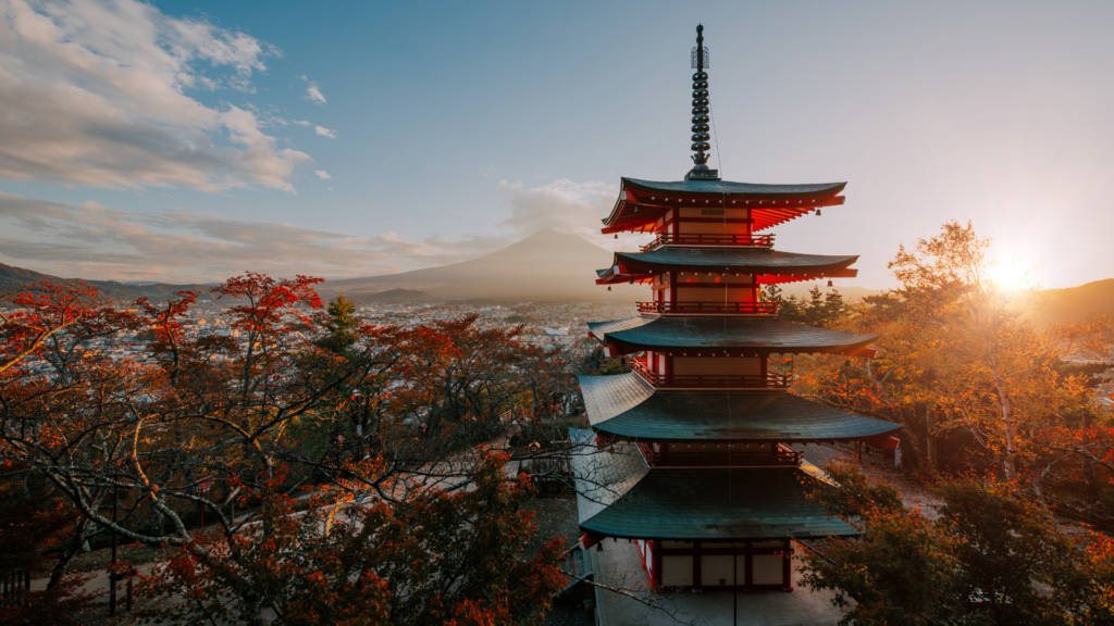Japanese culture temple in sunset